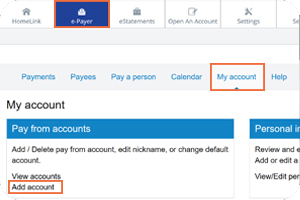 Add another checking account in bill pay