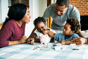 family counting money financial wellness