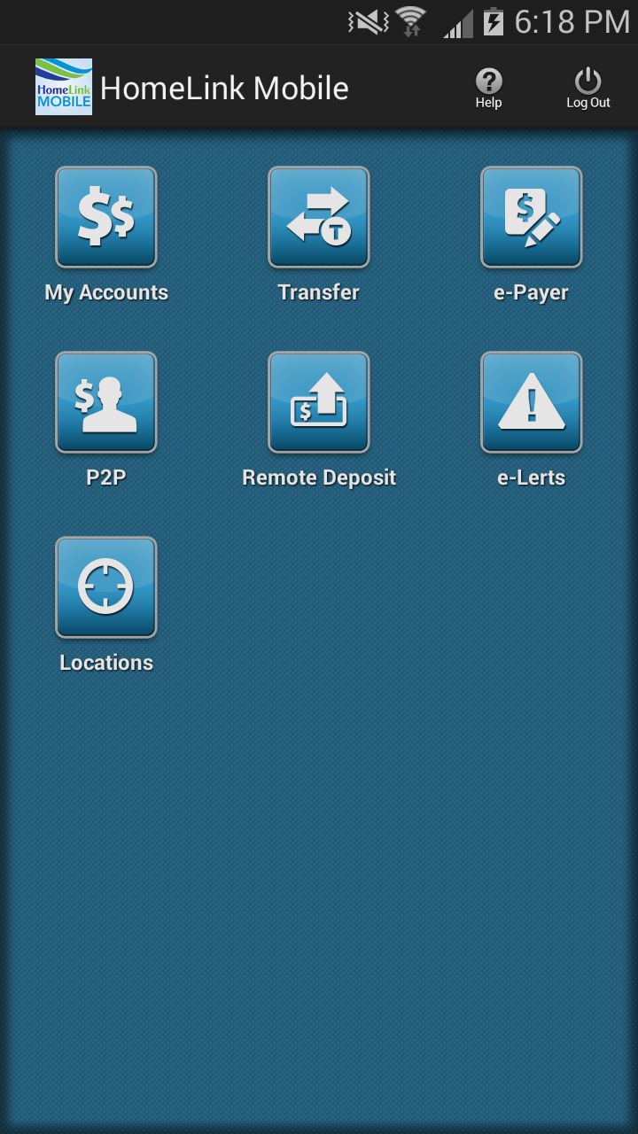 P2P on HomeLink Mobile home screen